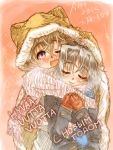 blonde_hair blue_eyes blush breath closed_eyes coat eila_ilmatar_juutilainen eyes_closed finnish highres hood long_hair mittens multiple_girls open_mouth purple_eyes russian ryou_(shirotsumesou) sanya_v_litvyak scarf shared_hoodie shared_scarf short_hair silver_hair smile strike_witches translation_request violet_eyes wink