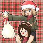 animal_costume antlers blonde_hair blue_eyes blush brown_hair christmas girls_und_panzer hand_on_head hat katyusha long_hair lua_(tsurezure_naru_mama_ni) military military_uniform multiple_girls nonna open_mouth outstretched_arm piggyback pointing red_nose reindeer_costume sack santa_hat short_hair skirt smile uniform