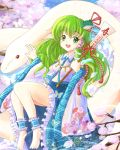 barefoot blush breasts cherry_blossoms daiso detached_sleeves frog_hair_ornament gohei green_eyes green_hair hair_ornament hair_tubes happy_new_year jewelry kochiya_sanae long_hair mishaguji necklace new_year open_mouth petals ribbon sitting skirt smile snake snake_hair_ornament solo touhou