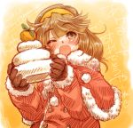 blush brown_eyes brown_hair capelet food fruit gloves hairband inazuma_eleven_(series) inazuma_eleven_go long_hair looking_at_viewer mochi nanobana_kinako open_mouth orange ryou_(shirotsumesou) santa_costume smile solo wagashi wink