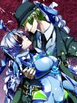 1girl ahoge blazblue blue_hair bodysuit braid breasts cape crotch_plate evil_smile eyepatch formal gloves glowing green_hair half-closed_eyes hat hazama impossible_clothes large_breasts long_hair matibou multiple_belts nail_polish necktie nu-13 purple_background red_eyes skin_tight smile suit yellow_eyes
