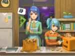 :q ahoge apron aqua_hair bat bili_bili_douga bili_girl_22 bili_girl_33 blue_hair book bookshelf broken clock clock_(minecraft) creeper failure freezer hair_ornament halloween icrdr knife minecraft moon multiple_girls night plant post-it pumpkin red_eyes shirt side_ponytail spoken_squiggle squiggle tongue water