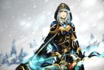 1girl arrow ashe_(league_of_legends) bow cape hannah_santos hoodie league_of_legends signature snow solo standing tree watermark weapon white_hair