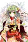 flower green_eyes green_hair hair_flower hair_ornament highres japanese_clothes kimono kochiya_sanae long_hair obi puracotte ribbon smile snake_hair_ornament solo touhou
