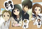 2girls black_hair brown_hair chibi chitanda_eru fukube_satoshi gakuran green_eyes hyouka ibara_mayaka long_hair multiple_boys multiple_girls oreki_houtarou paper_airplace paper_airplane pink_eyes purple_eyes rito453 school_uniform serafuku short_hair violet_eyes