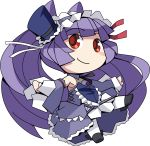 ban bare_shoulders celia_(chaos_code) chaos_code chibi corset detached_sleeves dress frilled_dress frills gothic_lolita hairband hat highres lolita_fashion long_hair mini_top_hat official_art purple_hair red_eyes smile solo top_hat transparent_background very_long_hair