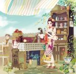1girl apple apron basket black_hair bottle bowtie bucket cabinet calendar_(object) chair cup drinking flower food formal fruit geta glasses hair_flower hair_ornament hair_up hairband hat japanese_clothes kimono leaf matsuo_hiromi no_socks original overgrown pipes plant plate potted_plant pump purple_eyes sandals saucer ship_in_a_bottle short_hair sitting standing suit table tea_set teacup teapot tiles towel violet_eyes yukata