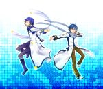 blue_eyes blue_hair boots clear_logic coat dual_persona highres kaito kaito_(vocaloid3) looking_at_viewer male multiple_boys musical_note open_mouth scarf smile vocaloid