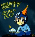android anniversary arm_cannon birthday candle cupcake happy_birthday hat helmet lydi-lydi_(jes) rockman rockman_(character) rockman_(classic) smile solo star starry_background weapon