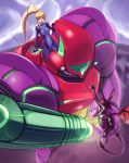 1girl blue_eyes female gravity_suit highres hybridmink mecha metroid nintendo ponytail power_armor ridley samus_aran skin_tight zero_suit