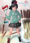 alternate_legwear black_hair boots breasts candy disney glitch green_eyes grin hair_ornament hand_on_hip hat highres hoodie kawacy long_hair mismatched_legwear pleated_skirt pocky ponytail santa_hat scrunchie skirt smile snowflakes snowing socks solo striped striped_legwear vanellope_von_schweetz watermark web_address wreck-it_ralph