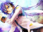 blue_eyes blue_hair feathers headset kaito kaito_(vocaloid3) kisaragi_kanade male scarf solo vocaloid