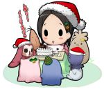 :d bell blush_stickers cake christmas christmas_tree food hair_ornament hairpin hat holly merry_christmas miyoshi_chihiro mizuki_gyokuran open_mouth party_hat reindeer santa_hat signature smile solid_circle_eyes solo stuffed_animal stuffed_toy tamayura