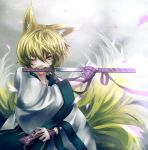 iai mouth_hold no_hat no_headwear ofuda petals sheath solo sword touhou unsheathing weapon wink yakumo_ran