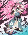 alice_margatroid book butterfly chen cherry_blossoms gap geta highres instrument japanese_clothes keyboard_(instrument) konpaku_youmu letty_whiterock lily_white lunasa_prismriver lyrica_prismriver merlin_prismriver open_mouth perfect_cherry_blossom petals pink_eyes pink_hair ribbon ringetsumon saigyouji_yuyuko sash shanghai_doll short_hair silhouette snowman solo sword touhou triangular_headpiece trumpet violin weapon wide_sleeves yakumo_ran yakumo_yukari