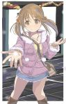 brown_eyes brown_hair denim_skirt fur_collar fur_trim idolmaster idolmaster_cinderella_girls jewelry miniskirt necklace parka riva0412 short_twintails skirt solo totoki_airi twintails