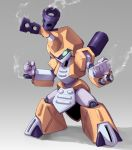 clenched_hand fighting_stance gradient gradient_background green_eyes gun ishibashi_yosuke medabots medarots metabee no_humans robot shadow smoke smoking_gun solo weapon