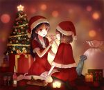 aki-fuyu black_hair black_legwear blush bottle brown_hair cake christmas christmas_tree cup dress feeding food gift hand_on_thigh hat long_hair multiple_girls onjouji_toki open_mouth red_eyes sack saki saki_achiga-hen santa_costume santa_hat shimizudani_ryuuka short_hair sitting wariza white_legwear wine wine_glass