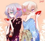 2girls alcohol alternate_hairstyle back-to-back bamboo blonde_hair blush cherry_blossoms drinking eila_ilmatar_juutilainen floral_print flower furisode green_eyes hair_flower hair_ornament japanese_clothes kimono multiple_girls new_year nwon'yo_pasun nwon'yo_pasun obi purple_eyes purple_hair sakazuki sake sanya_v_litvyak strike_witches two-tone_background violet_eyes wisteria