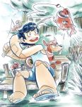 2boys blues_(rockman) casual fish fishing fishing_rod magnet maximo_v_lorenzo multiple_boys pier robot robot_joints rockman rockman_(character) rockman_(classic) rush_(rockman) sandals shorts tank_top