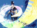 ascot bicorne black_hair blue_eyes blue_hair coat formal frederic_chopin hat instrument keyboard_(instrument) male pants pocket_watch shirt solo staff top_hat trusty_bell watch