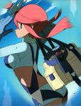 back bag blue_eyes fuuro_(pokemon) gloves hair_bun hairbun highres holster official_art pilot poke_ball pokemon pokemon_(game) pokemon_bw pokemon_card_game red_hair redhead short_shorts shorts sky solo suspenders thigh_holster