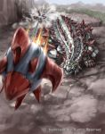 cannon_fire_dragon_sledgeankylo cardfight!!_vanguard claws dinosaur dust mecha motion_blur no_humans official_art spikes tail tomo_(machinemess) tree