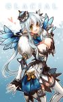 alternate_costume alternate_eye_color alternate_hair_color blue_background breasts cleavage crown elsword fur_trim limble long_hair rena_(elsword) skirt smile snowflakes solo thigh-highs thighhighs white_hair white_legwear yellow_eyes
