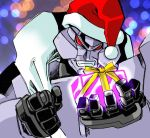 box christmas decepticon gift gift_box grin hat megatron no_pupils presenting red_eyes robot sack santa_hat smile solo transformers tsushima_naoto