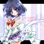 adapted_costume bishoujo_senshi_sailor_moon black_hair bow brooch choker elbow_gloves facial_mark forehead_mark gloves hair_ornament hairpin happy_new_year jewelry lowres magical_girl polearm purple_eyes ribbon sailor_collar sailor_saturn saturn_symbol shirataki_kaiseki short_hair silence_glaive skirt smile solo sparkle spear star tomoe_hotaru violet_eyes weapon white_gloves