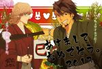 barnaby_brooks_jr blonde_hair brown_eyes brown_hair facial_hair flower flowrs fsz_tb glasses green_eyes japanese_clothes kaburagi_t_kotetsu kimono multiple_boys paddle stubble tiger_&_bunny