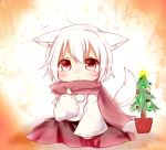 animal_ears blush chibi detached_sleeves inubashiri_momiji looking_at_viewer misa_(kaeruhitode) red_eyes scarf short_hair solo tail touhou white_hair wolf_ears wolf_tail