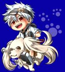 blue_background chibi dog highres looking_at_viewer norainu_(101) open_mouth original paw_print red_eyes riding short_hair simple_background smile yellow_eyes
