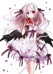 blood bloody_tears blue_eyes cross dress heterochromia koto_(colorcube) long_hair original red_eyes solo sword weapon white_background white_hair wings
