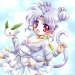 :d albino bell bishoujo_senshi_sailor_moon blue_background cat_tail choker collarbone crescent diana_(sailor_moon) earrings facial_mark forehead_mark hair_bun jewelry lowres open_mouth personification purple_hair red_eyes ribbon_choker shirataki_kaiseki short_hair skirt smile snow_bunny solo sparkle tail