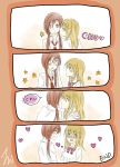 4koma absurdres blonde_hair blue_eyes blush brown_hair cheek_kiss comic embarrassed fukuji_mihoko heterochromia highres kiss long_hair multiple_girls open_mouth purple_eyes red_eyes saki smile takei_hisa violet_eyes yuri