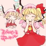 :> ^_^ ascot baby blonde_hair character_name child closed_eyes dual_persona eyes_closed fang flandre_scarlet happy hat komaku_juushoku lowres multiple_girls pink_background short_hair side_ponytail simple_background skirt skirt_set smile touhou translated wings young