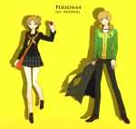 1girl brown_eyes brown_hair earphones genderswap hanamura_yousuke highres houndstooth jacket jacket_removed persona persona_4 rakuko satonaka_chie school_uniform short_hair side_ponytail track_jacket