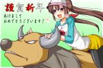 aqua_eyes blue_eyes blush brown_hair bull double_bun grimace hair_ribbon heavy_breathing horns long_hair mei_(pokemon) nishi_koutarou open_mouth pantyhose pokemon pokemon_(game) pokemon_bw2 raglan_sleeves ribbon skirt smile tauros translated translation_request twintails visor_cap