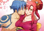 1girl blue_hair blush breasts couple flower hair_ornament hand_on_shoulder japanese_clothes kamina kimono large_breasts long_hair no_bra open_mouth red_eyes red_hair redhead short_hair skull skull_hair_ornament suika_soda tengen_toppa_gurren_lagann torso yellow_eyes yoko_littner