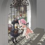 apron black_hair bow doll dress hair_bow hair_ribbon haruno_sakura hyuuga_hinata multiple_girls naruto pantyhose pink_hair ribbon short_hair white_eyes