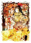 apple autumn basket bird black_hair braid capelet closed_eyes eyes_closed flower food forest frame fruit ginkgo hat leaf long_hair moekon nature original plaid plaid_shirt smile solo traditional_media tree twin_braids walking watercolor_(medium)