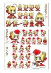 absurdres aestus_estus ahoge artbook artist_request blonde_hair blush_stickers braid capelet character_sheet chibi dress epaulettes fate/extra fate_(series) french_braid green_eyes hair_bun hair_ribbon hat highres panties ribbon saber_extra sack santa_costume santa_hat scan short_hair solo underwear wada_aruko white_panties