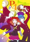 2boys 3girls blonde_hair blue_hair book brown_hair cellphone closed_eyes cream_puff earrings eyes_closed hand_holding hat holding_hands instrument jewelry jojenny konishi_naoki kujikawa_rise matsunaga_ayane multiple_boys multiple_girls pencil persona persona_4 phone red_hair redhead school_uniform shirogane_naoto short_hair soda_can tatsumi_kanji trumpet twintails