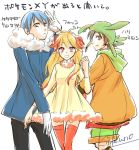 1girl 2boys blonde_hair blue_hair blush_stickers brown_eyes brown_hair chespin dress fennekin froakie fur_collar hoodie long_hair multicolored_hair multiple_boys orange_eyes orange_hair orange_legwear personification pokemon pokemon_(game) pokemon_xy shorts tabi_(kikuno) thigh-highs thighhighs two-tone_hair yellow_eyes