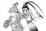 1girl alternate_costume antenna_hair final_fight gloves high_ponytail ibuki janitor kunai long_hair monochrome mop no_pupils plunger rolento sasaki_(sid328) scar screentones scrunchie sleeveless street_fighter street_fighter_iii street_fighter_x_tekken street_fighter_zero v very_long_hair weapon