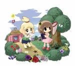 1boy 2girls :3 animal_ears balloon bare_shoulders black_eyes blonde_hair blush blush_stickers bob_(animal_crossing) bob_cut brown_hair bush butterfly butterfly_net cat_ears cloud clouds clover crescent_moon dog_tail doubutsu_no_mori dress fishing_rod flower folder furry gift grass green_hair hair_flower hair_ornament hand_net house moon multiple_girls neitomea net nikoban_(doubutsu_no_mori) nintendo open_mouth paws player_1 present rose scenery shikei_(jigglypuff) shizue_(animal_crossing) shizue_(doubutsu_no_mori) short_hair single_glove skirt sleeveless sleeveless_dress sneakers socks star sweatdrop tail tobidase:_doubutsu_no_mori topknot tree uniform village villager_(doubutsu_no_mori)
