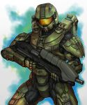 armor assault_rifle bullpup damaged gun halo_(game) halo_4 helmet highres ma5 master_chief mjolnir_mk_4 power_suit rifle solo spartan weapon