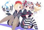 bags_under_eyes baseball_cap bird black_legwear blonde_hair bow brown_eyes cap chandelure character_request dress drill_hair earrings ghost gloves grey_hair hair_bow hair_over_one_eye hat hoodie hoothoot idolmaster idolmaster_cinderella_girls jewelry kanzaki_ranko long_hair looking_at_viewer multiple_girls open_mouth owl pantyhose pins pokemon red_eyes rfa shirasaka_koume short_hair sitting skirt sleeves_past_wrists smile star striped striped_legwear stripped stripped_thighhighs thigh-highs thighhighs twin_drills twintails visor_cap