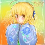 2013 ahoge blonde_hair blush braid fate/stay_night fate_(series) floral_print french_braid green_eyes hair_bun hairbun happy_new_year japanese_clothes kimono saber short_hair solo yanagi_makoto
